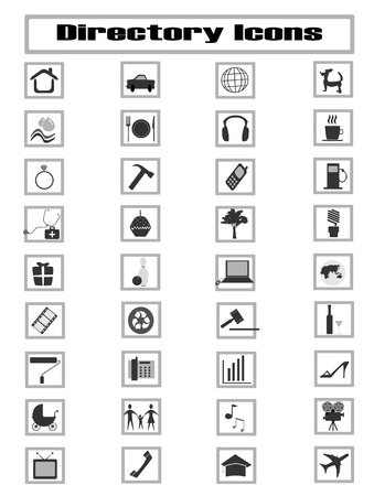 collection of coomon directory icons Vector