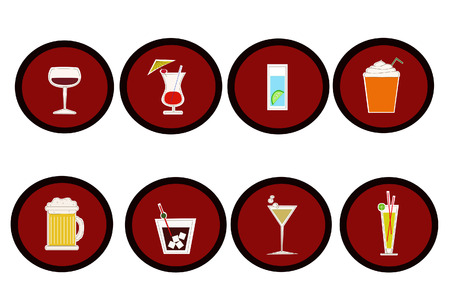 a set of cute beverage icons Vector