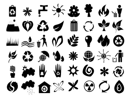 a rich collection of blackwhite eco icons Vector