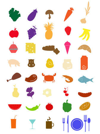 fresh food fish cake: wide collection of different food Illustration