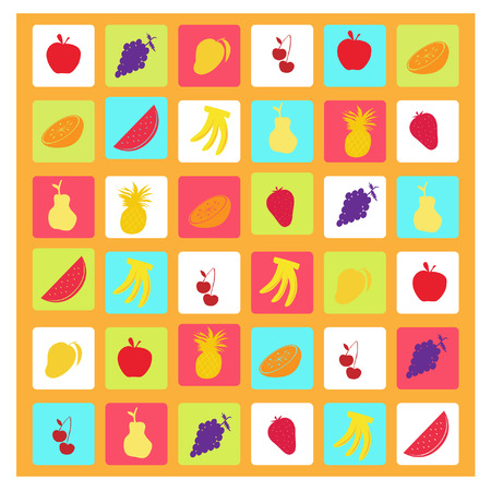 a collection of cute mix fruits icons Stock Vector - 4594728
