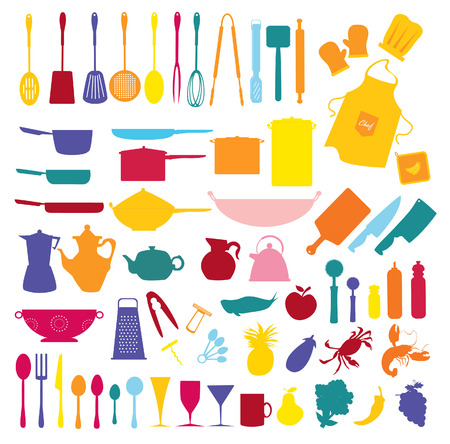 aprons: collection of food and kitchen icons