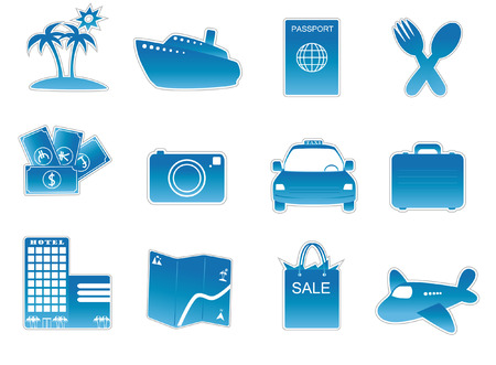 business directory: collection of travel icon essentials