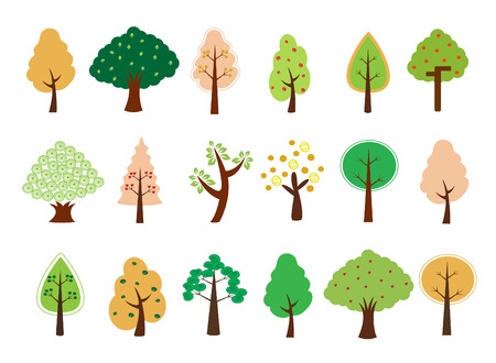 a collection of very cute tree design Vector