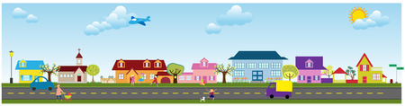 an illustration of a quiet suburb Stock Vector - 4685363