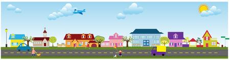 family van: an illustration of a quiet suburb Illustration
