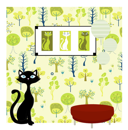 an image illustration of a cat wallpaper Vector