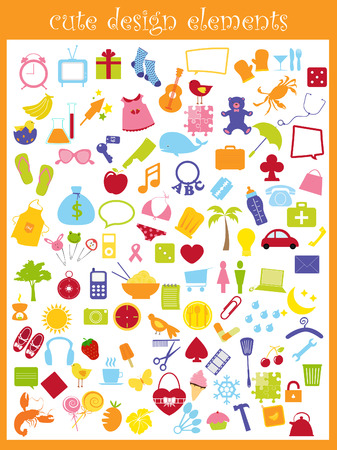 a collection of cute icons Stock Vector - 4769254