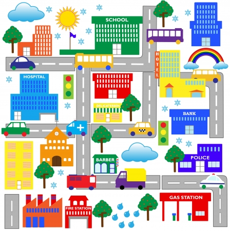 deli:  an illustration of a city view