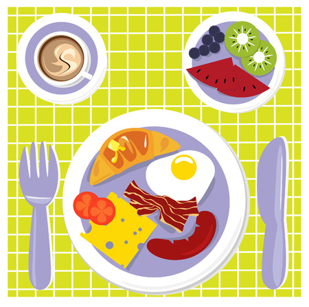 eggs and bacon: an illustration of a big breakfast