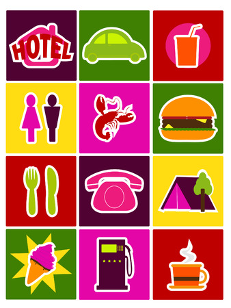 a collection of travel illustration Vector
