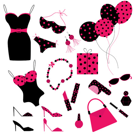 collection of cute icons for ladies Vector