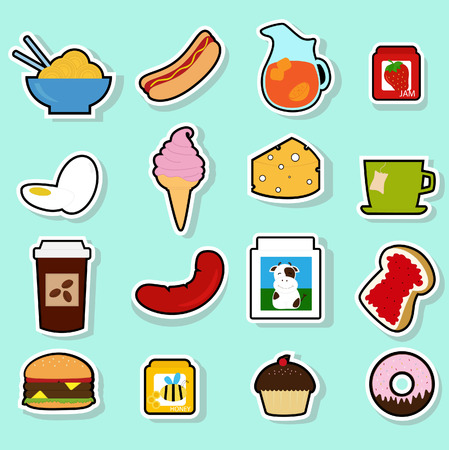 strawberry jam sandwich: a collection of cute food icons Illustration
