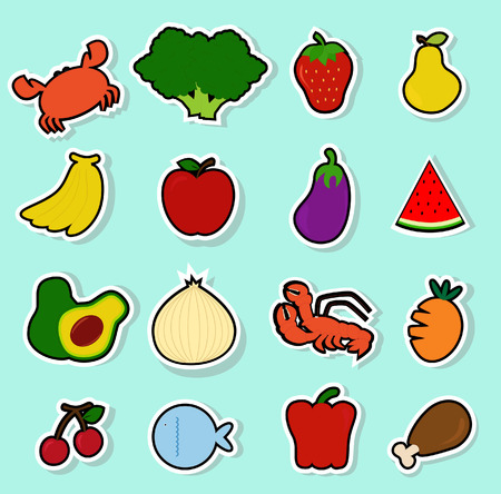 sticker vector: a collection of cute food icons Illustration