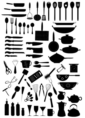 a collection of kitchen essentials Vector