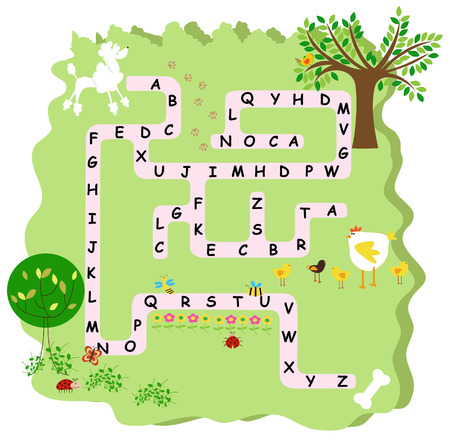 labyrinth: an illustration of an alphabet puzzle Illustration