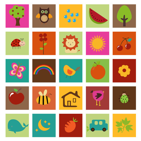 a collection of cute ecology icons Vector