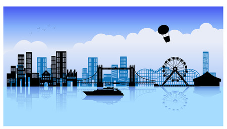 an illustation of a city view Vector