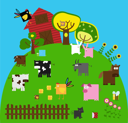 a collection of farm animals Vector