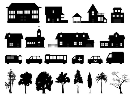 a collection of homes and trees Vector