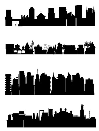 suburbs: a collection of different city view Illustration