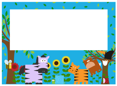 an illustration of an animals border Vector