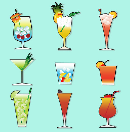 a collection of cocktail drinks