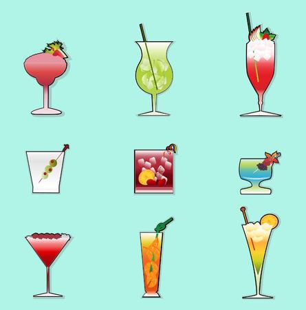 pineapples: una colecci�n de c�cteles de bebidas  Vectores