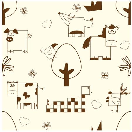 an illustration of seamless animals