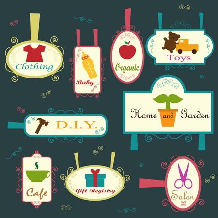 beverage display: a collection of cute signage Illustration
