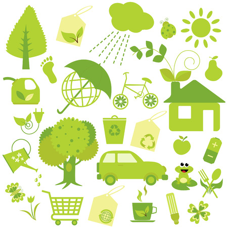 an illustration of a  collection of cute ecology icons  Vector
