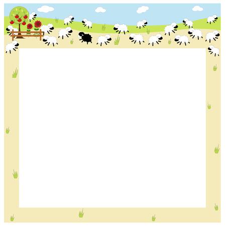 apple border: an illustration of a border  field full of sheep  Illustration