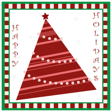 an illustration of a christmas card with checkered border.  Illustration