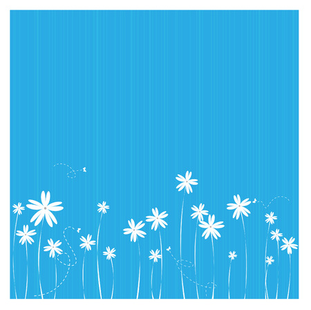 simple border: an illustration of a flower border in blue background