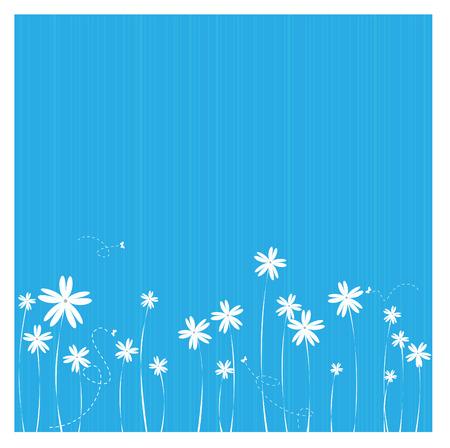cenefas flores: una ilustración de un borde de flor en el fondo azul