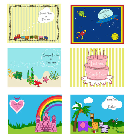 a collection of six childrens invitation theme cards