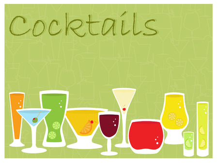 an illustration of a collection of cocktail drinks  Vector