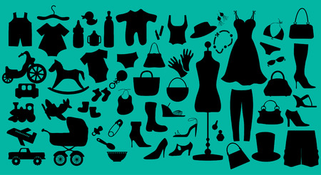 a collection of baby and womans fashion and toy illustration.