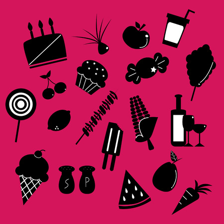 a collection of black and white food silhouette illustrations  Vector