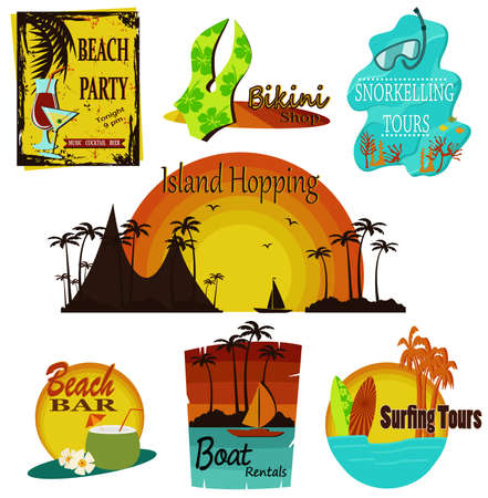 old bar: set of beach summer signs
