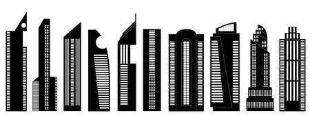 a set of building silhouettes Vector