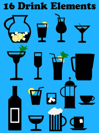 a set of food and drink elements Illustration