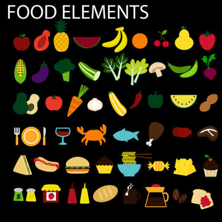 a set of food and drink elemts Vector