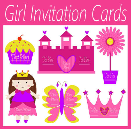 a set of invitation cars for girls Stock Vector - 20919523