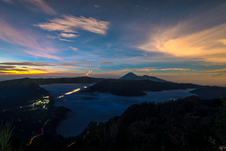 Mist at the Bromo volcano, Indonesia Stock Photo