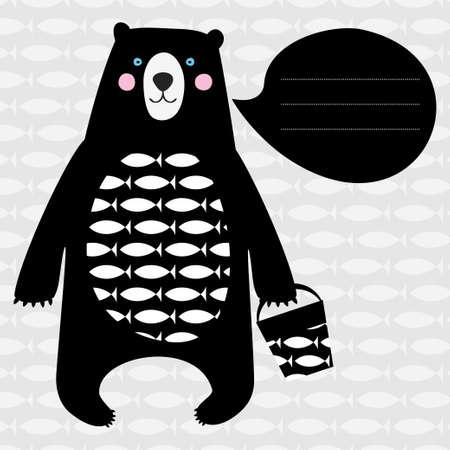 검은 곰 귀여운 카드 일러스트