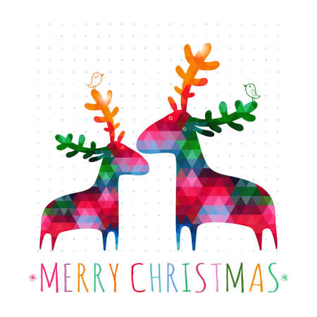 aves caricatura: tarjeta de Navidad con ciervos coloridos