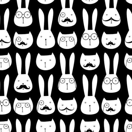 lapin silhouette: seamless pattern avec des lapins et des chats mignons