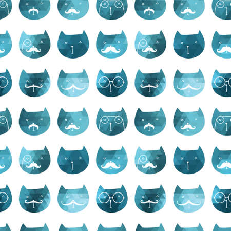 cats seamless pattern  Vector  Vector triangle cats  Abstract cat of geometric shapes  Sign of the cat  Illustration with cat  Holiday design  Backdrop  Gradient  Vector