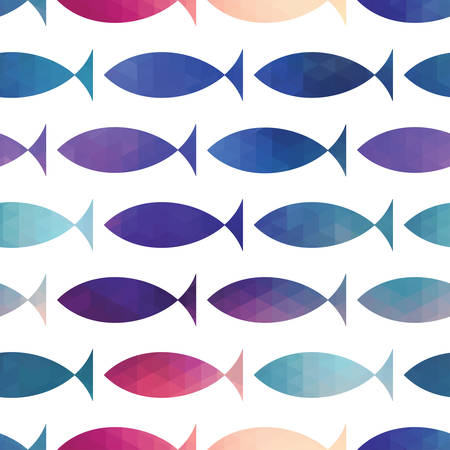 fish seamless pattern  Vector  Vector triangle fish  Abstract fish of geometric shapes  Sign of the fish  Illustration with fish  Holiday design  Backdrop  Gradient  Vector